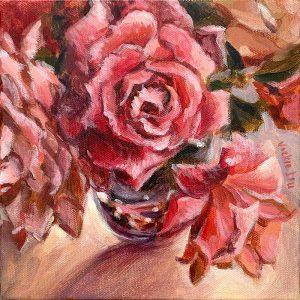 sherbet pink rose still life painting