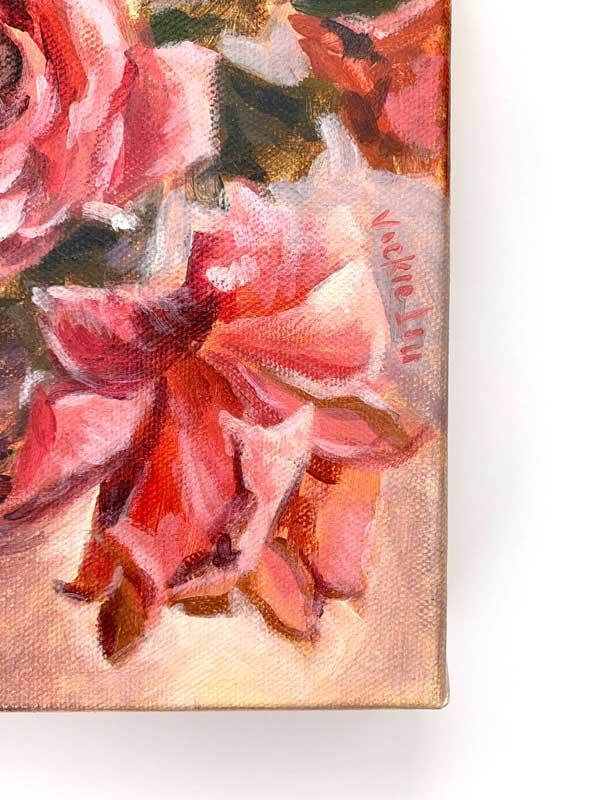 sherbet pink rose still life painting detail