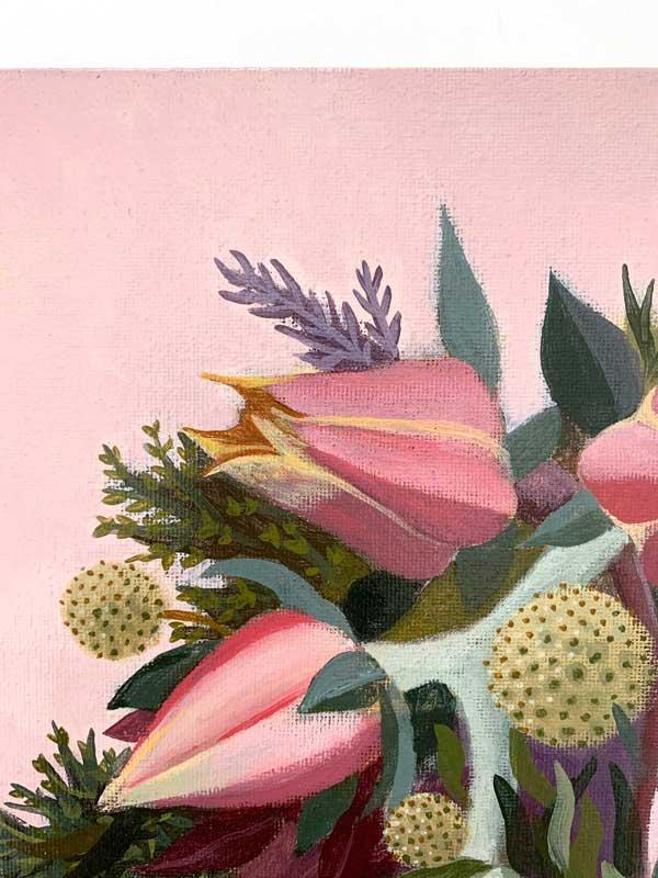 succulent bouquet original painting detail