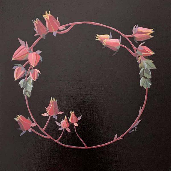 succulent wreath original painting