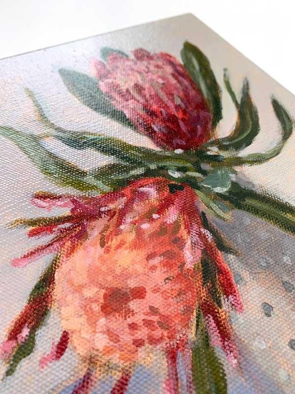 Blue Protea Still Life Canvas Painting Detail
