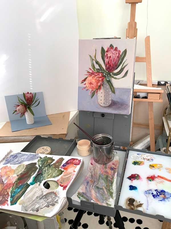 Blue Protea Still Life Painting Process