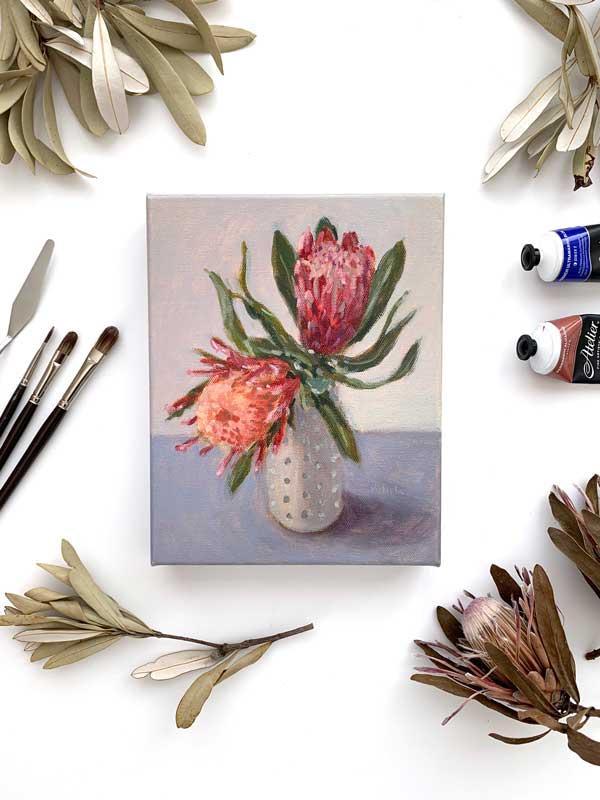 Blue Protea Still Life Painting