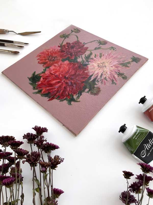 Dahlias and Flower Buds Panel Edge