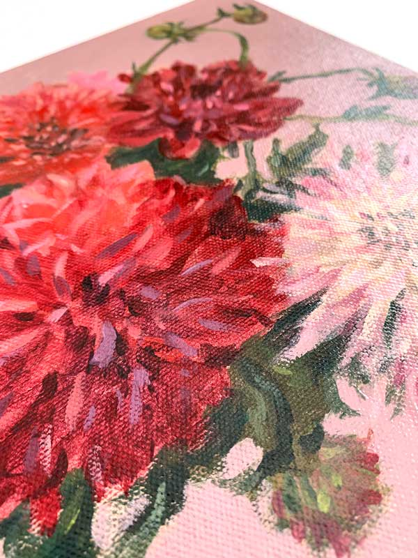 Dahlias and Flower Buds Canvas Detail