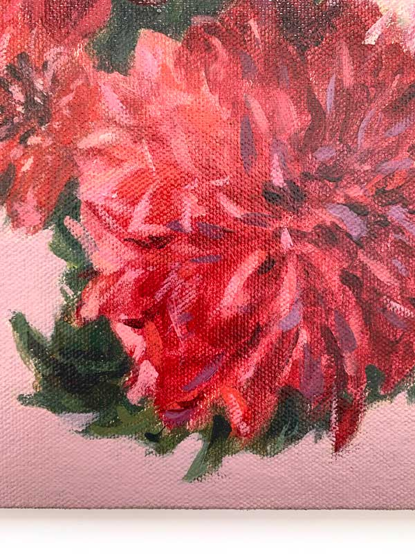 Dahlias and Flower Buds Painting Detail