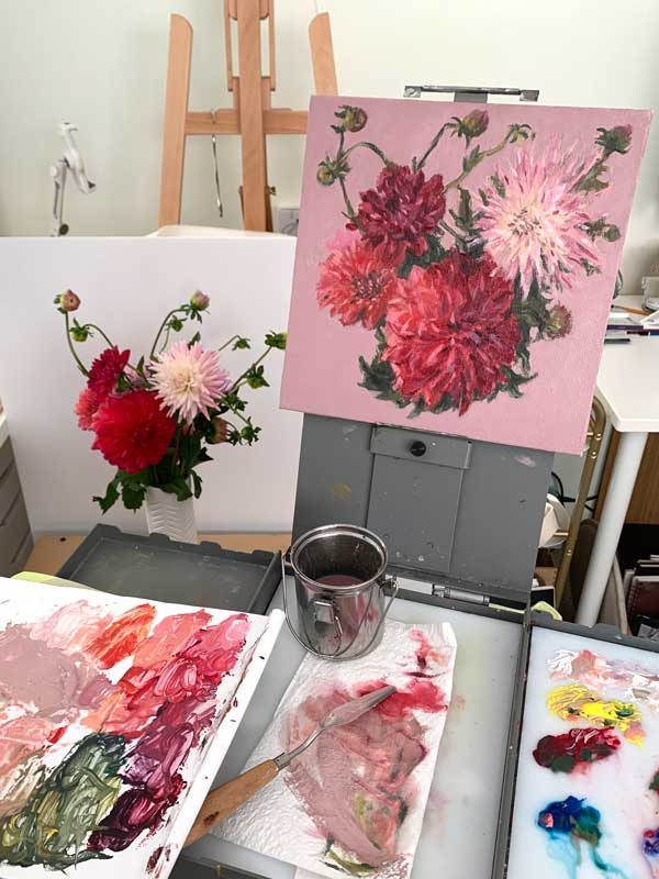Dahlias and Flower Buds Painting Process