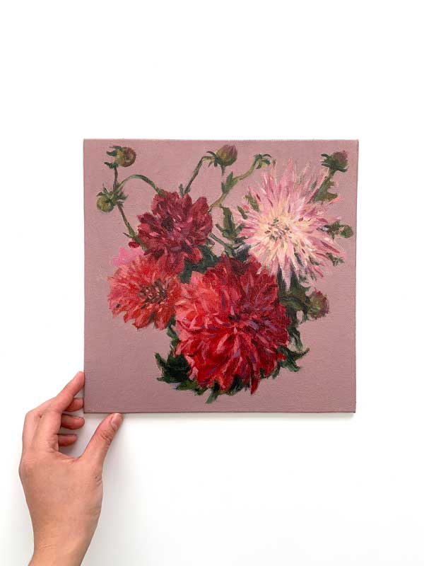 Dahlias and Flower Buds Painting