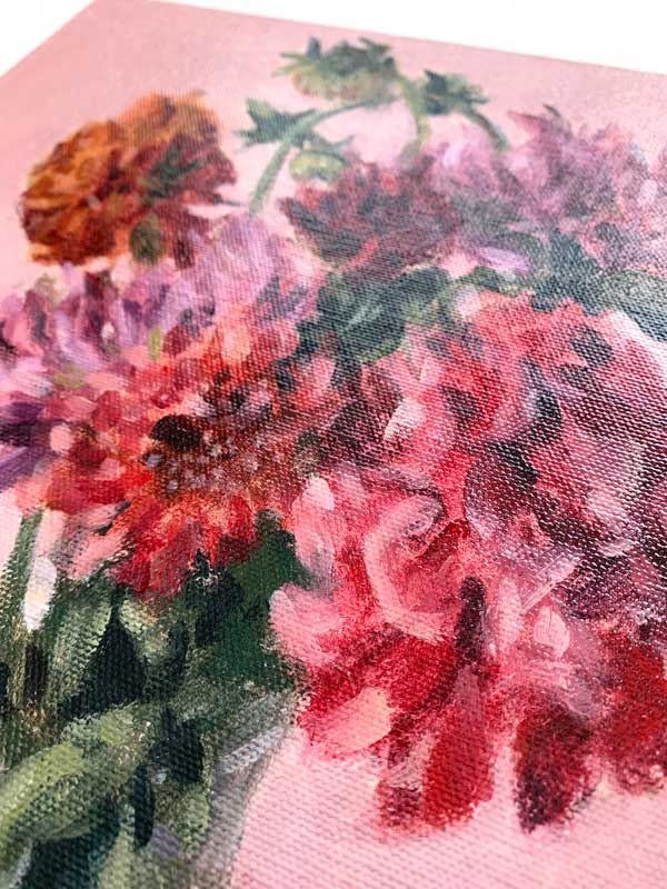 Dahlias in white vase canvas detail