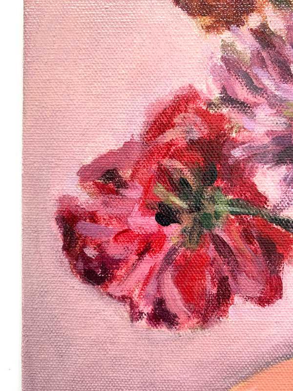 Dahlias in white vase painting Detail