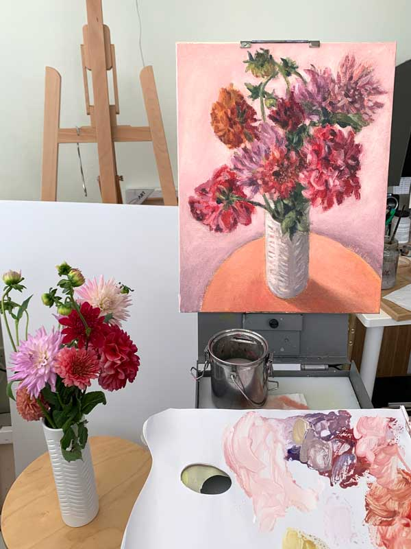 Dahlias in white vase painting process