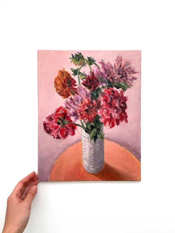 Dahlias in white vase painting