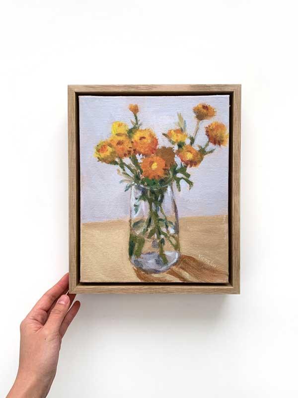 Paper Daisy Still Life Painting