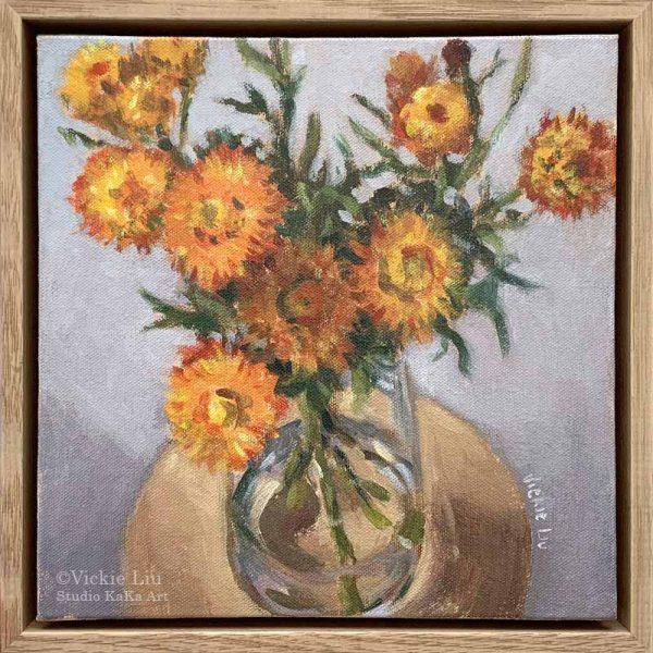 Paper Daisy Painting Framed Original