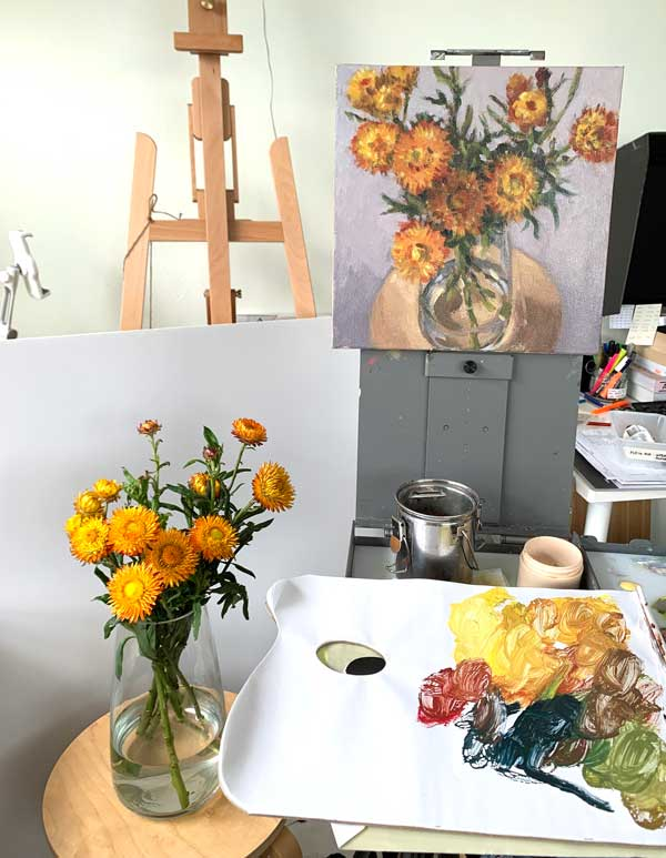 paper daisy still life painting process