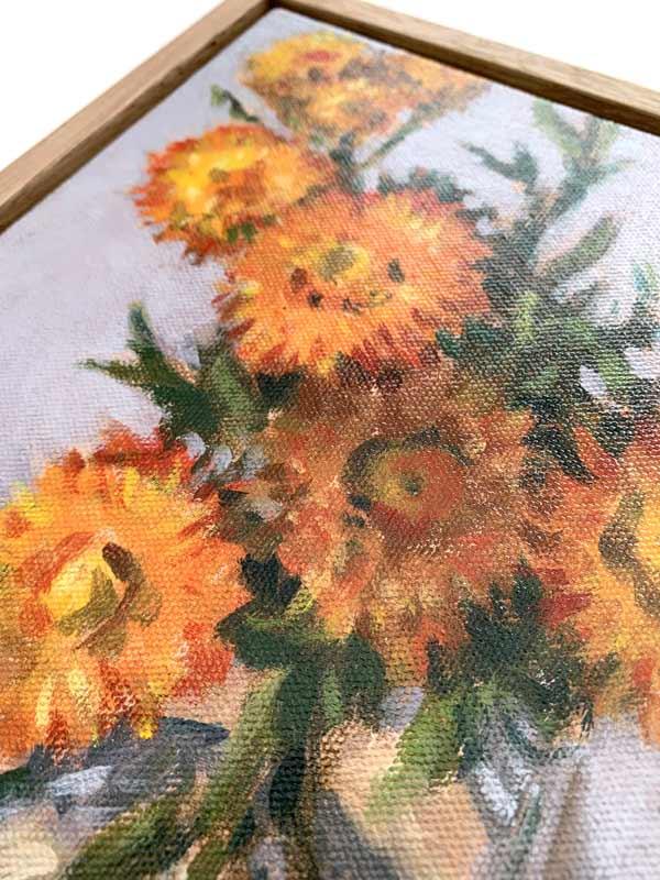 paper daisy still life painting detail
