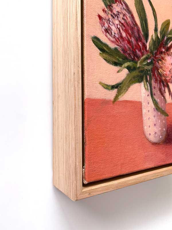 Pink Protea Still Life Painting Framed Edge