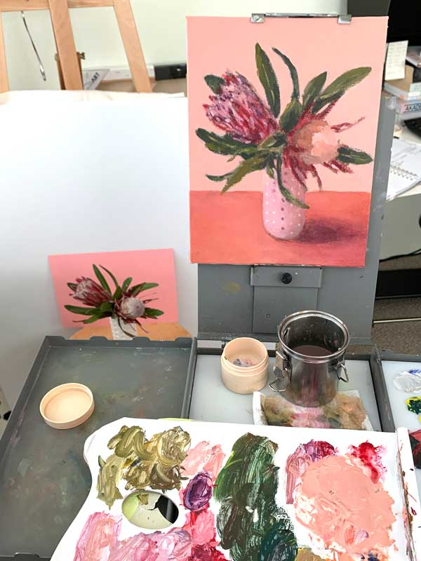 pink protea still life painting process
