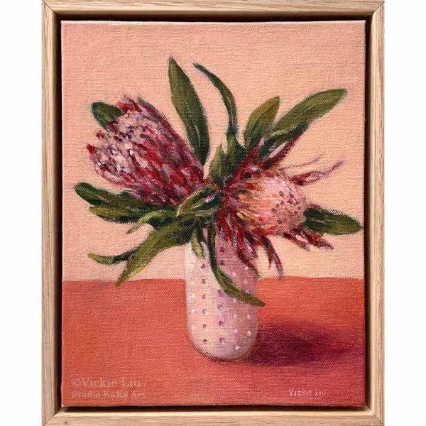 Pink Protea Still Life Painting