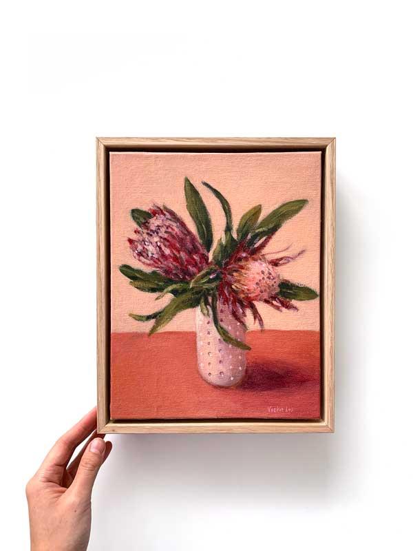 Pink Protea Still Life Original Painting