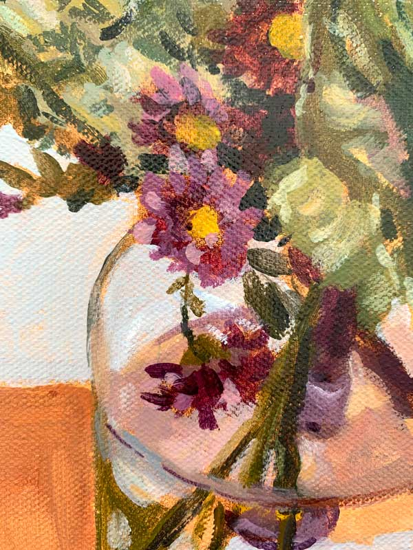 Purple Cabbage and Daisy Bouquet Painting Detail