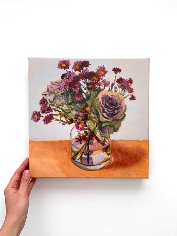 Purple Cabbage and Daisy Still Life Painting