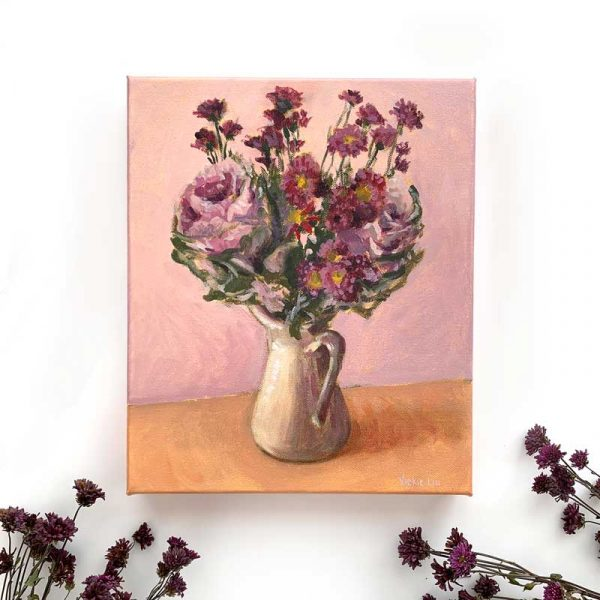 Purple Cabbage and Daisy Bouquet Painting