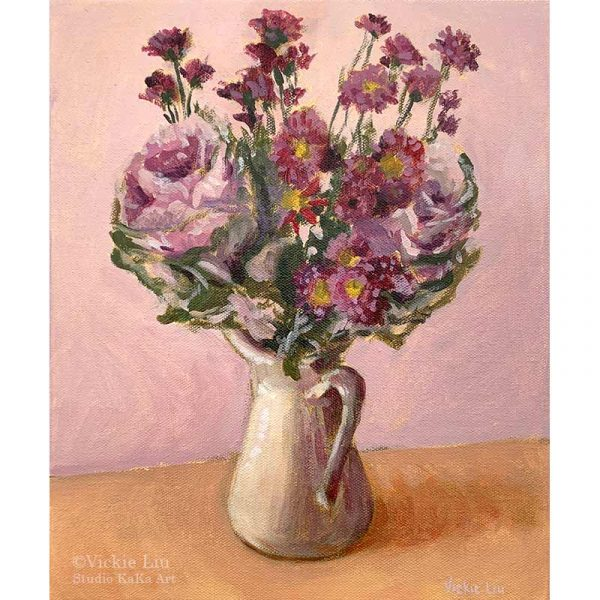 Purple Cabbage and Daisy Bouquet Still Life Artwork
