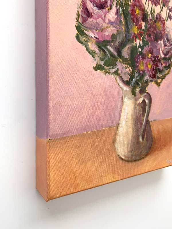Purple Cabbage and Daisy Bouquet Canvas Edge