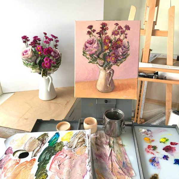 Purple Cabbage and Daisy Bouquet Painting Process