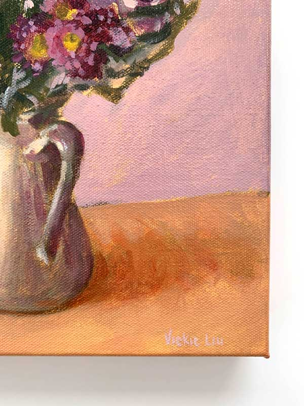 Purple Cabbage and Daisy Bouquet Painting Signature
