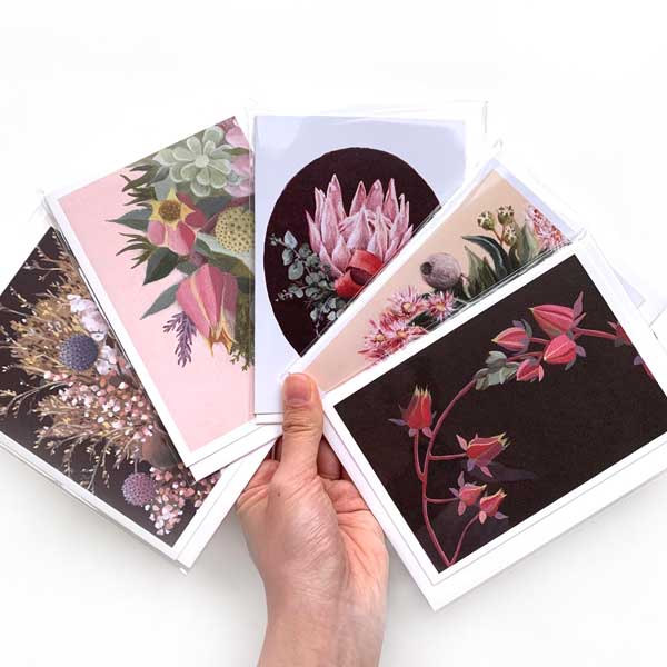 Dramatic Pink Floral Card Pack