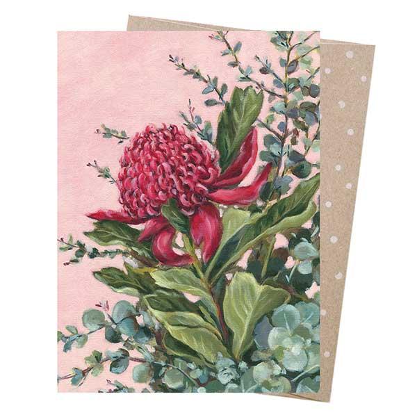 Pink Waratah Greeting Card