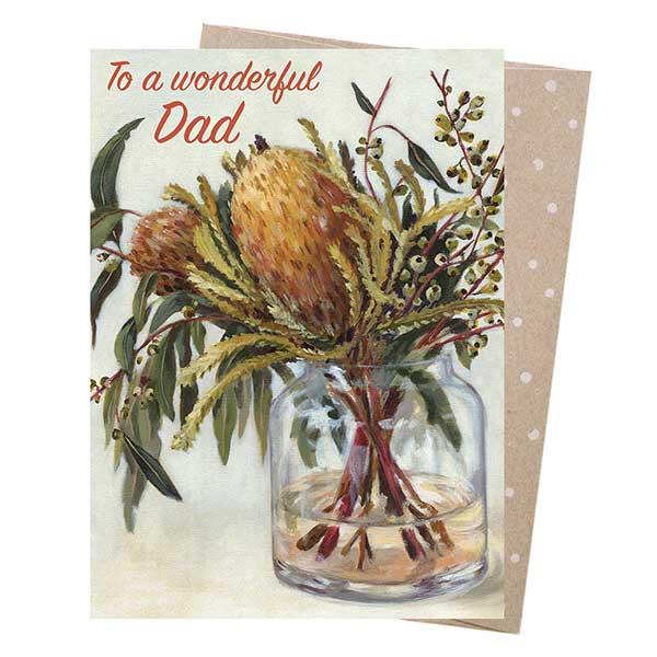 Wonderful Dad Banksia Greeting Card