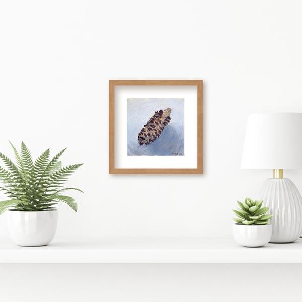 Banksia Seed Pod on Blue Painting Insitu