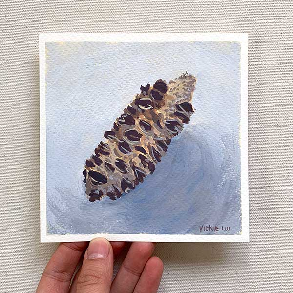 Banksia Seed Pod on Blue Painting