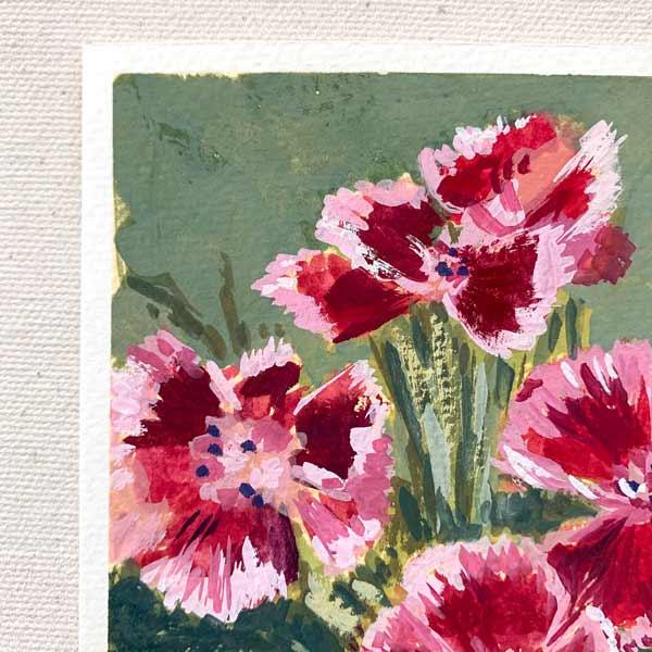 Bearded Pink Flower Petal Painting Detail