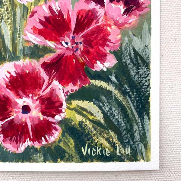 Bearded Pink Flower Petal Painting Signature