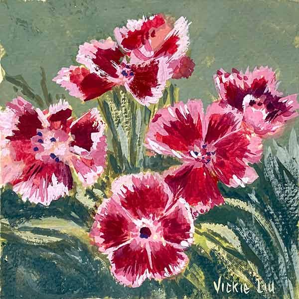 Bearded Pink Flower Petal Painting