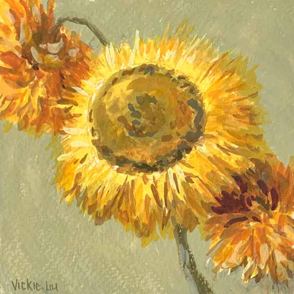 Dried paper daisy mini painting