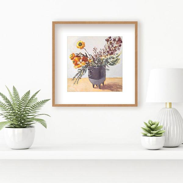 dried paper flowers in banksia vase artwork