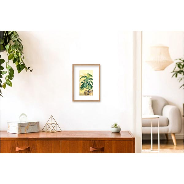 Fiddle Leaf Fig on Yellow Painting Insitu