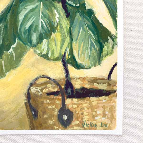Fiddle Leaf Fig on Yellow Painting Detail