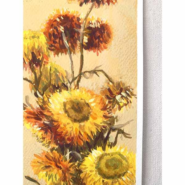 Golden Everlasting Flower Painting