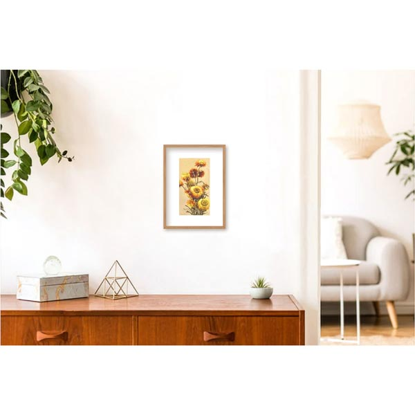 Golden Everlasting Flower Painting Insitu