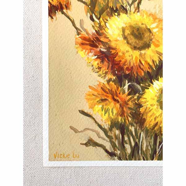 Golden Everlasting Flower Painting Signature