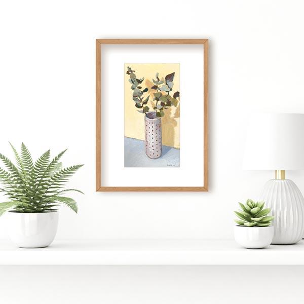 Gum Leaf in Spotted Vase Still Life