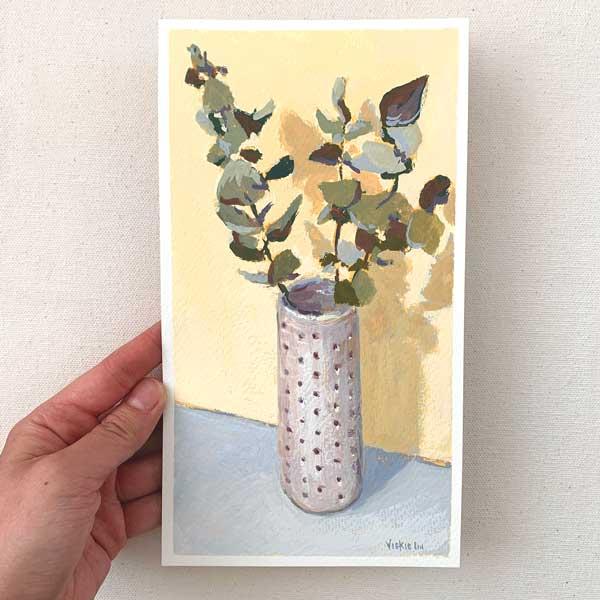 Gum Leaf in Spotted Vase Painting