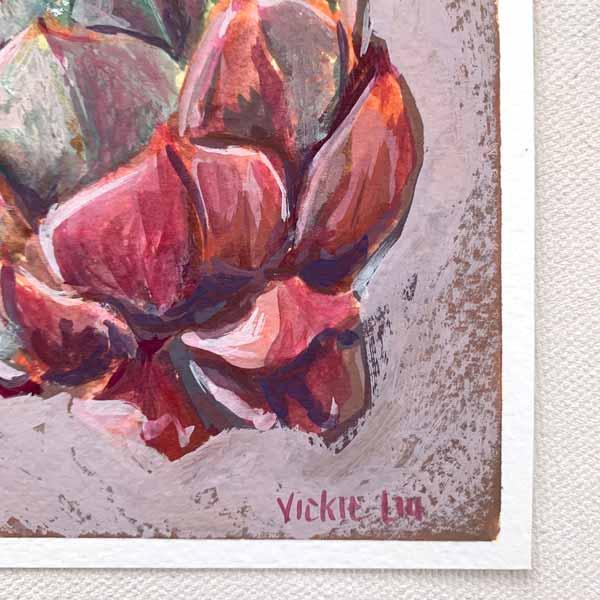 lotus succulent still life painting signature