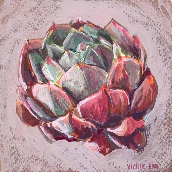 lotus succulent still life painting